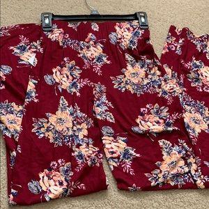 Floral print flowy boho pants